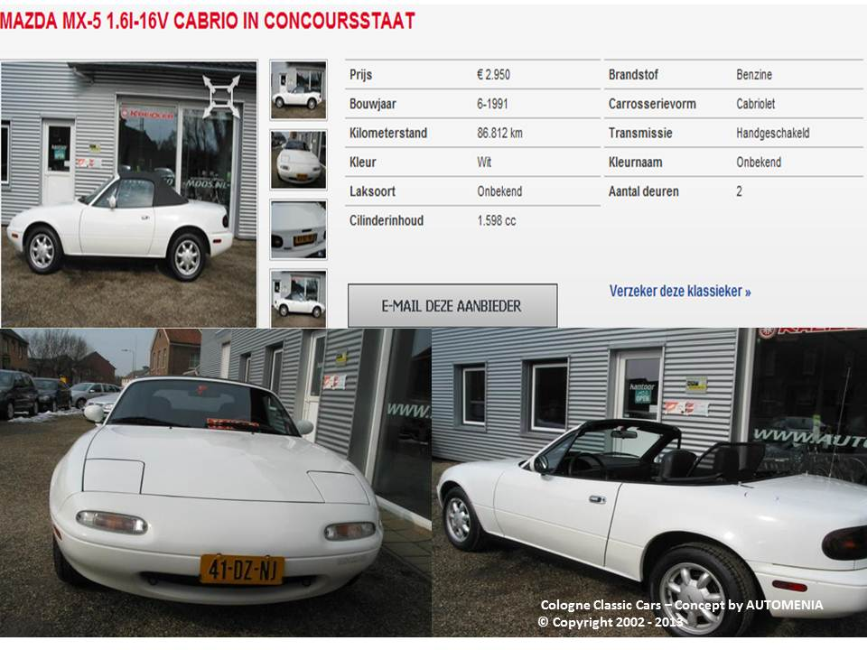 Mazda MX5 NA USA-CANADA Original 1991 Modell by AUTOMENIA